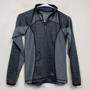 LL Bean 1/4 Zip Baselayer Gray Thin Jacket Sweater